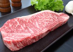 Kobe beef with garlic,salt and pepper
